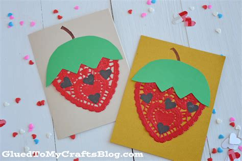 Paper Craft Cards - doily strawberry cards kid craft glued to my crafts