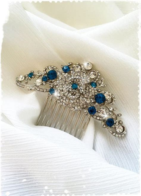 Vintage Inspired Wedding Hair Accessories by Vintage Inspired Blue Wedding Hair Comb