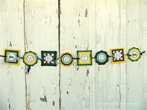 tractor birthday party name banner