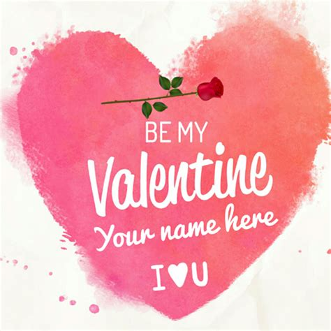 valentines name write name on happy day greeting card