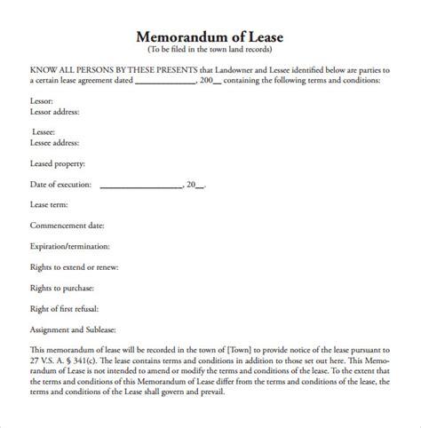10 Memorandum Of Lease Agreement Sles Exles Format Sle Templates Memorandum Of Lease Agreement Template