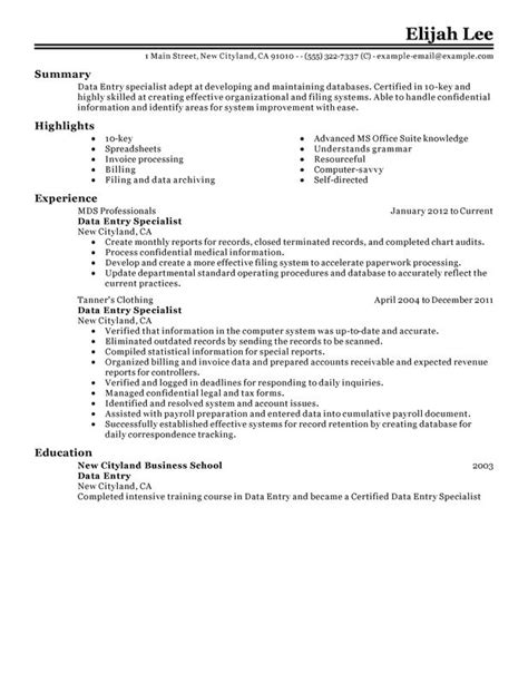 Management Information Processing Resume by Data Entry Resume Exles Free To Try Today