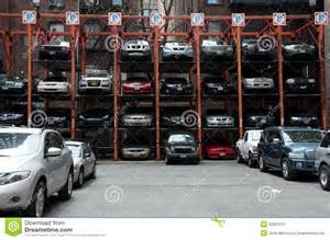 car storage new york vertical hydraulic parking spaces new york city editorial