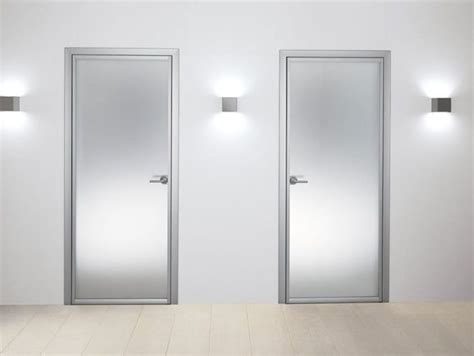 Beautiful aluminium interior door with white frosted glass and aluminium frame