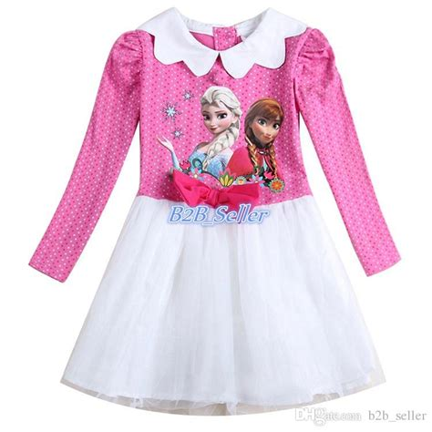 Frozen Elsa Silk Pink Dress 2017 frozen elsa princess dress pink sleeve dress 100 cotton clothes tutu