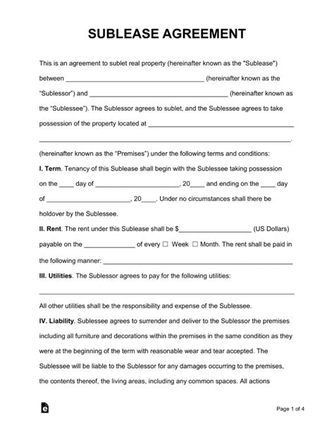 Free Rental Lease Agreement Templates Residential Sublease Contract Template
