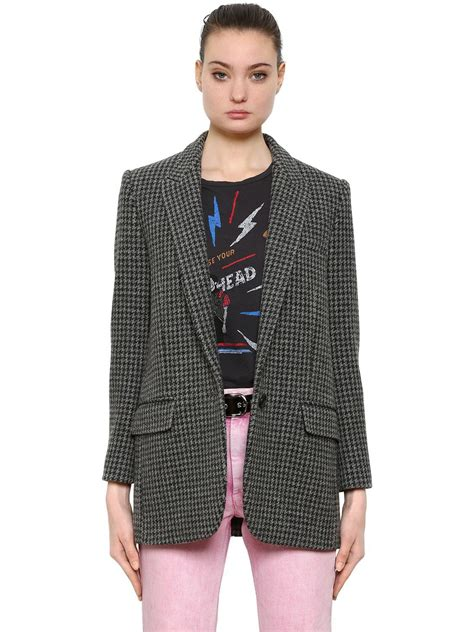 Crop Houdstood Pocket Kemeja lyst 201 toile marant wool blend houndstooth blazer jacket in gray