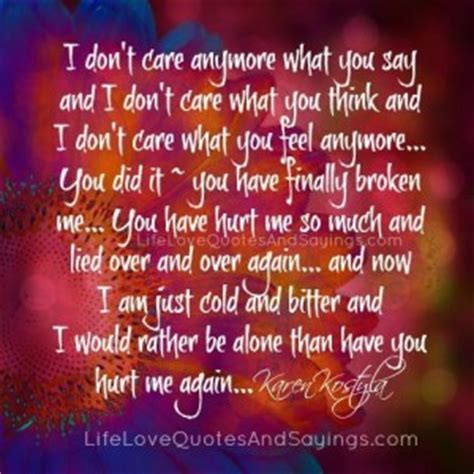 Brown Doesnt Feel Anymore by I Dont Care Anymore Quotes Quotesgram