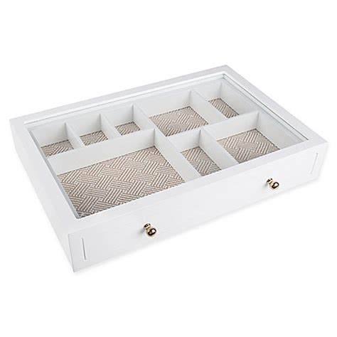 bed bath and beyond jewelry organizer west emory 2 piece drawer jewelry organizer in white bed