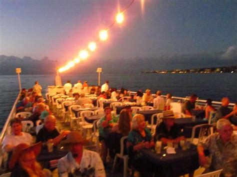 dinner on a boat maui bow of boat at night picture of maui princess sunset