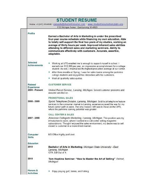 Sample Resume Of Student – Sample Student Resume   How To Write Stuff.org