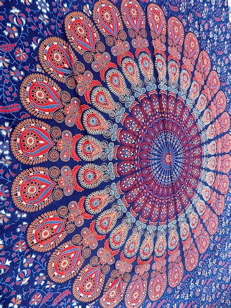 light pink and blue tapestry blue mandala hippie tapestry hippie wall hanging