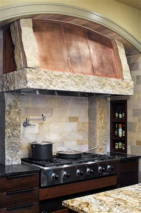 kitchen range backsplash stone and copper range hood unique interior stone uses