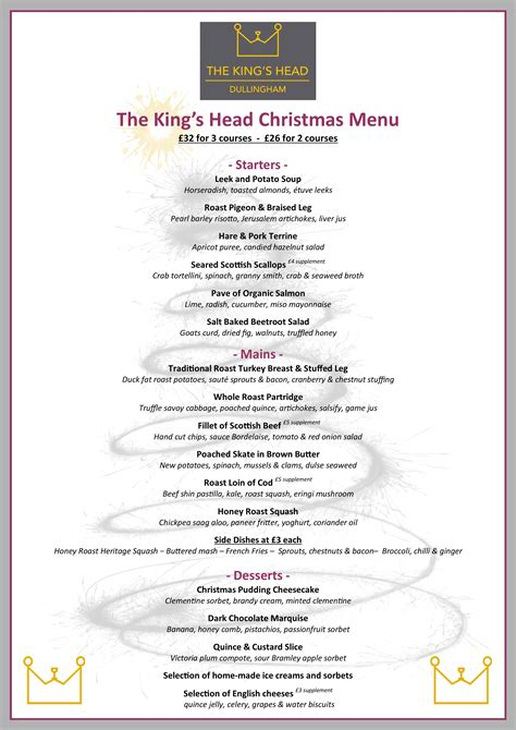 the king s head dullingham christmas menu king s head