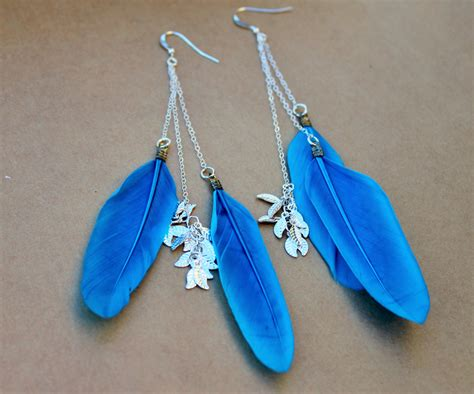 Blue Feather Earrings, Dangle Earrings, boho chic