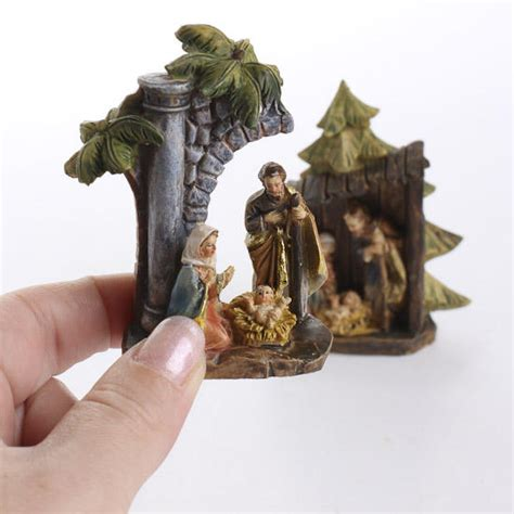 miniature holy family figurine table decor christmas