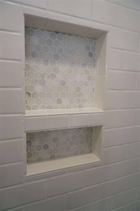 subway tile shower niches bathrooms pinterest homearch renovations tiled shower niche carrara hexagon
