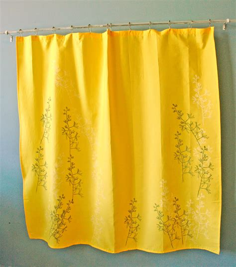 yellow print shower curtain yellow shower curtain with yucca print by appetitehome on etsy