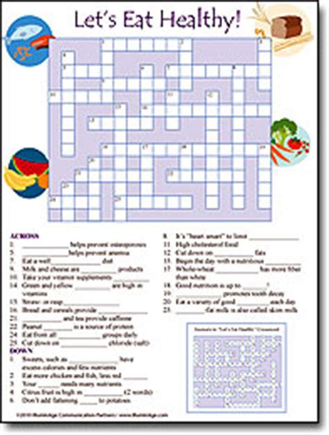 printable nutrition puzzles for adults nutrition crossword puzzle answers nutrition ftempo