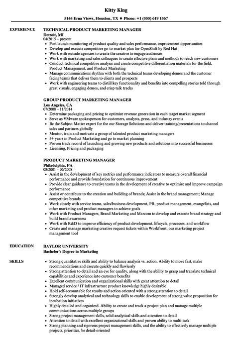 Marketing Manager Resume by Product Marketing Manager Resume Sles Velvet