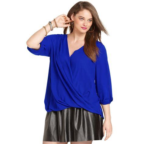 Plus Size Blouse plus size sleeve draped blouse in blue cobalt lyst