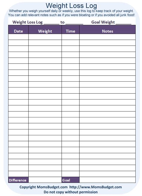 printable monthly weight loss calendar weight loss log free printable worksheet from momsbudget com