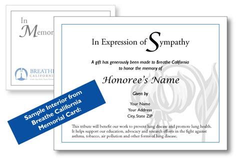 donation in memory of card template donate breathe california golden gate