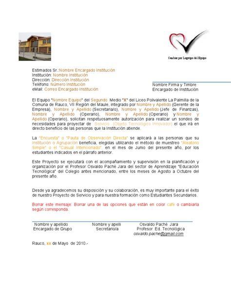 carta de autorizacion de un proyecto carta de autorizacion para ejecutar una encuesta