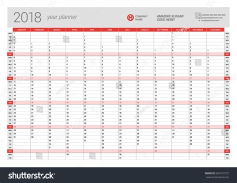 yearly wall calendar planner template 2018 stock vector