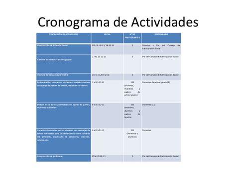 cronograma de actividades blog de la facultad de proyecto dise 241 a el cambio telesecundaria cuautemoc