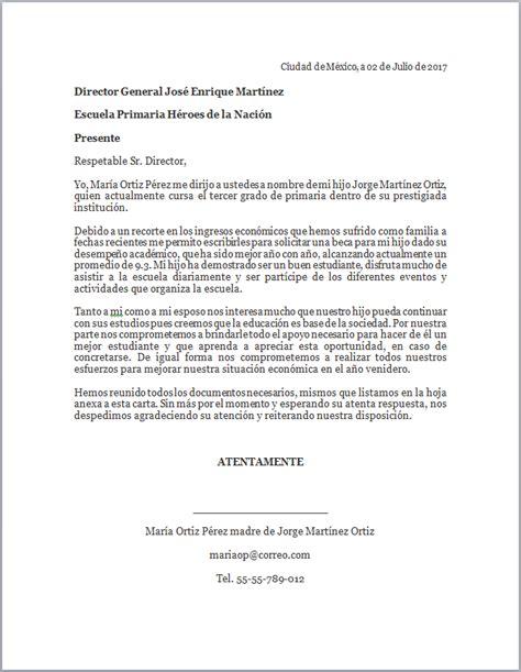 formato para carta de beca ejemplo de carta de solicitud de beca para hijo o hija mil formatos