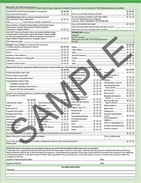 comprehensive health history template 5 patient assessment pocket dentistry