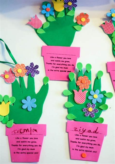 flower pot crafts handprint flower pot craft for mothers day in the playroom