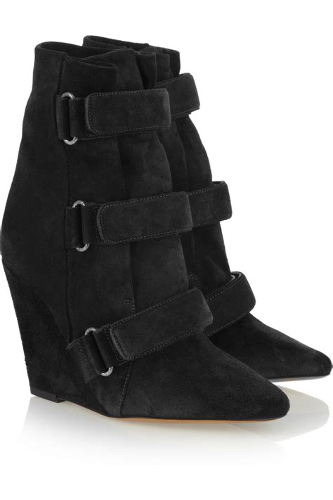 black suede wedge designer ankle boots pointed toe