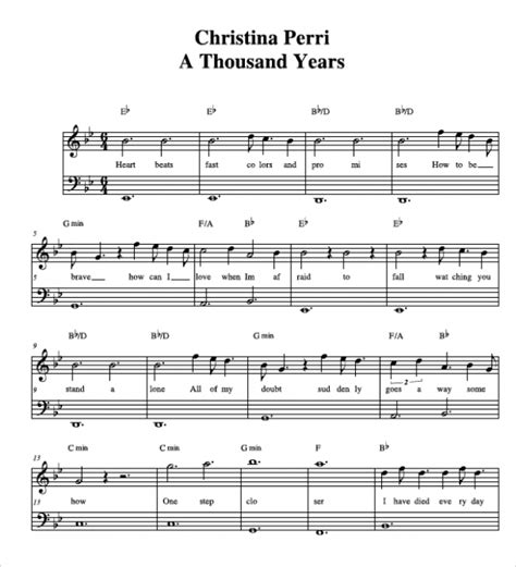 free printable sheet music a thousand years a thousand years sheet music free piano pdf