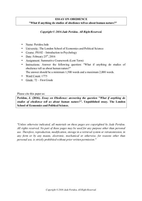 Obedience To Authority Essay by Obedience To Authority Essay Accomplishment Essay Essay On Obedience Essay Experts Reviews