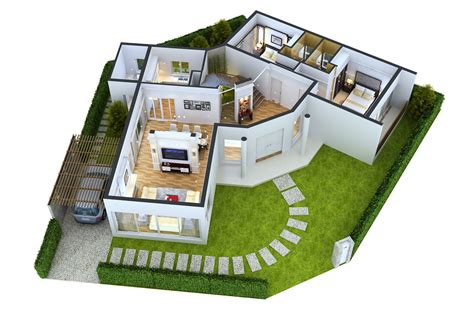 3 l floor l detailed house floor 1 cutaway 3d model max obj cgtrader com