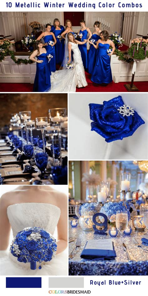 blue wedding colors bright royal blue and metallic silver winter wedding color