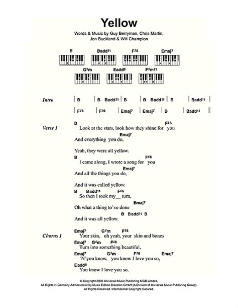 coldplay chords yellow yellow noten von coldplay lyrics piano chords 109437