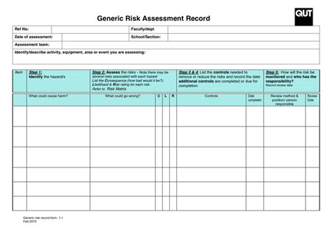6 Risk Assessment Forms Word Templates Community Risk Assessment Template