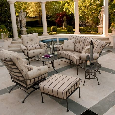 woodard patio furniture reviews woodard terrace wrought iron 6 patio furniture set