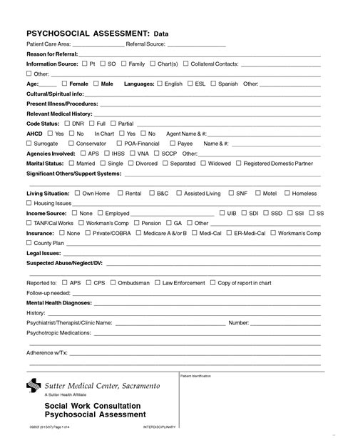 Psychosocial Assessment Template 2018 World Of Reference Social Work Assessment Template