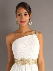 white chiffon sequined one shoulder neckline sleeveless