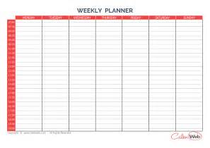7 day schedule template 7 day planner printable calendar template 2016