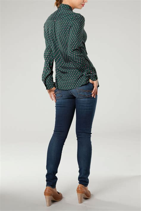 Hilfiger Dot Blouse Branded hilfiger andre polkadot blouse in green lyst