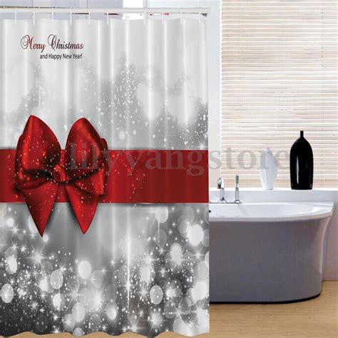 christmas bathroom shower curtains merry christmas red bow fabric bathroom waterproof shower