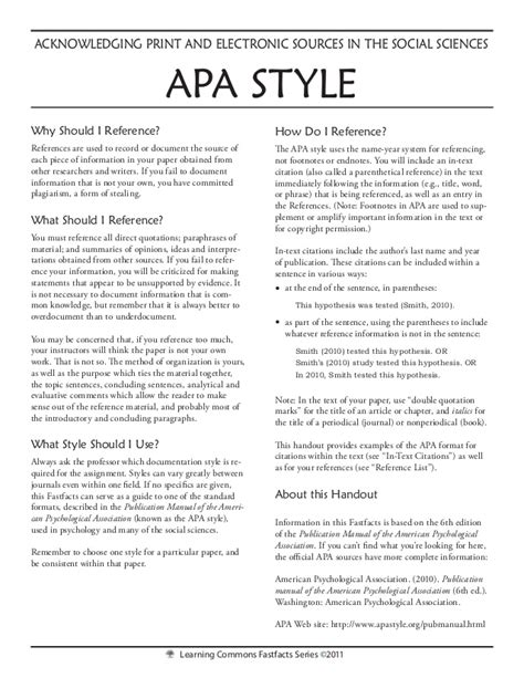Sle Essay In Apa Format apa citation style 28 images to cite in apa format how