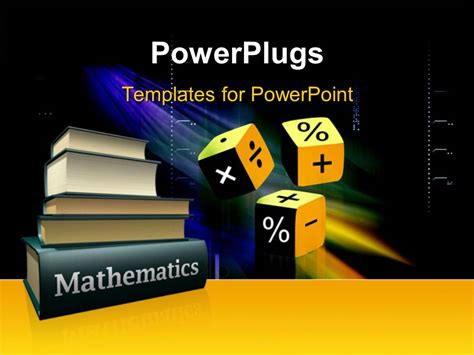 powerpoint template mathematical books and three cubes