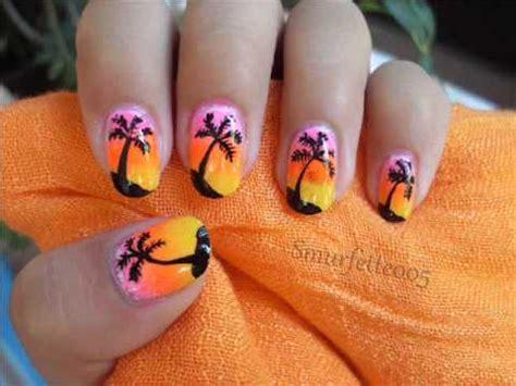 nail art tutorial palm tree sunset palm tree nail art tutorial summer neon nails