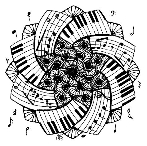adult coloring page music mandala piano 1